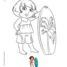 Coloriage DORA fait du surf