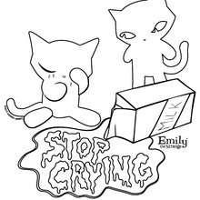 Les chats d'EMILY à colorier - Coloriage - Coloriage PERSONNAGE BD - Coloriage EMILY THE STRANGE