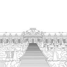 Coloriage du PALAIS DE SANSSOUCI en Allemagne - Coloriage - Coloriage HISTOIRE ET PAYS - Coloriage ALLEMAGNE - Coloriage MONUMENTS ALLEMANDS