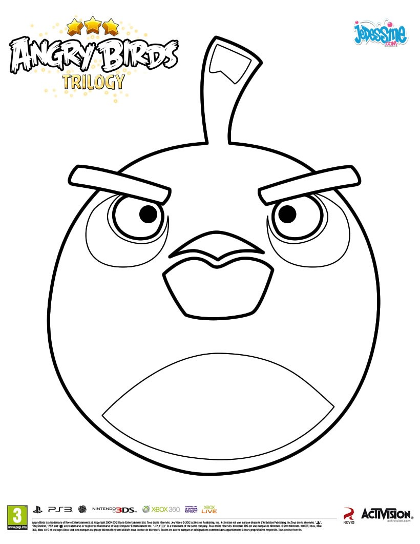 Coloriages l 39 oiseau bombe de angry birds - Coloriage angry birds ...