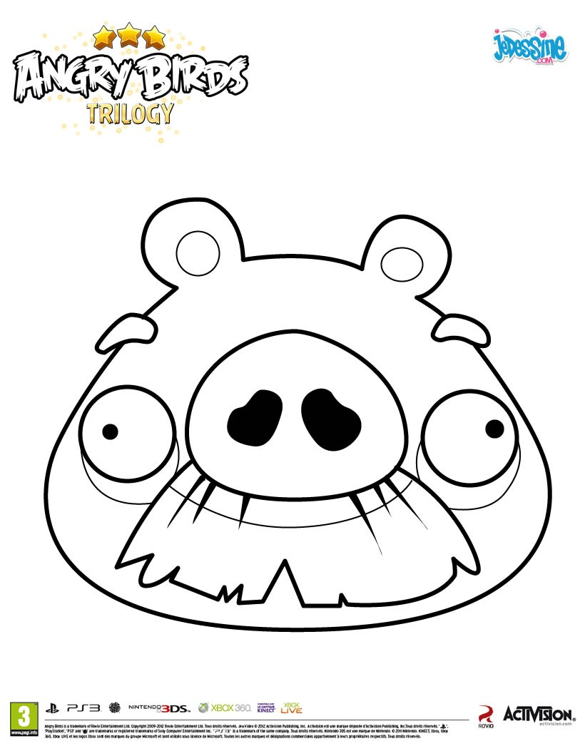 Coloriages le cochon moustachu de angry birds fr - Angry bird coloriage ...