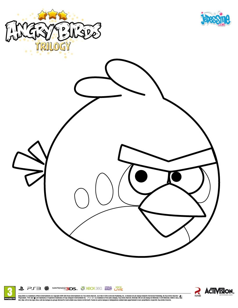 Coloriages l 39 oiseau rouge dans angry birds - Coloriage angry birds ...
