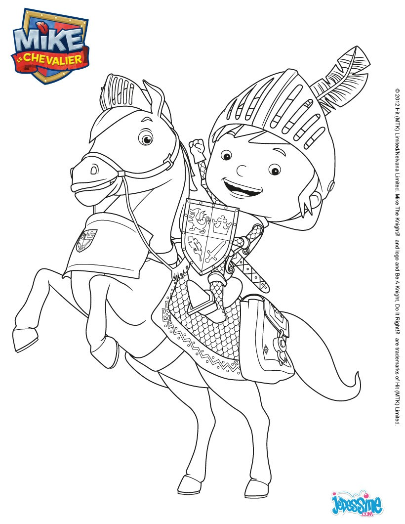Coloriages coloriage mike sur galahad - Chevalier a colorier ...