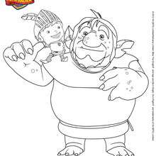 Coloriage PAPA TROLL et MIKE
