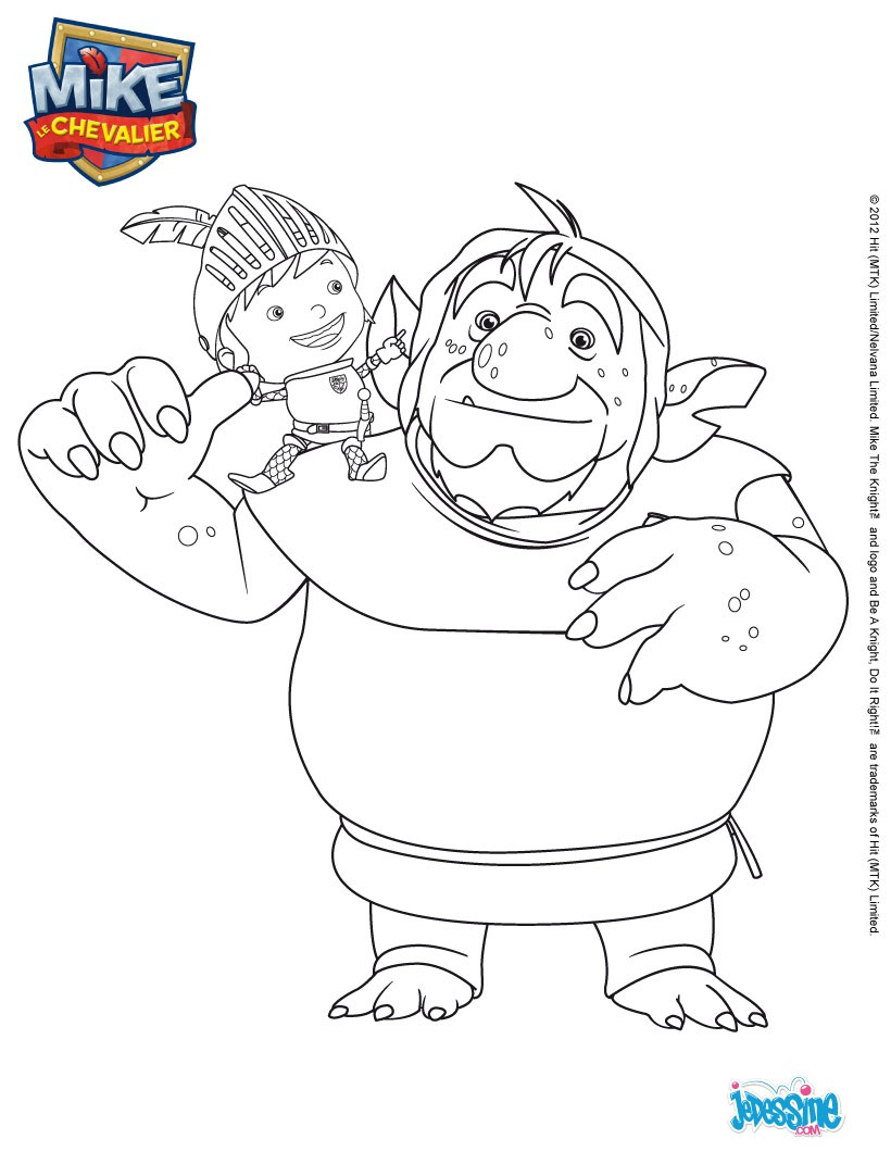 Coloriages coloriage papa troll et mike - Chateau de mike le chevalier ...