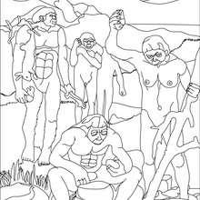 Coloriage : Groupe d'australopithèques