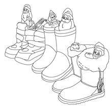 Coloriage de bottes de Noël remplies de cadeaux par Saint Nicolas