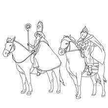 Coloriage de Saint NIcolas à cheval accompagné du Père Fouettard