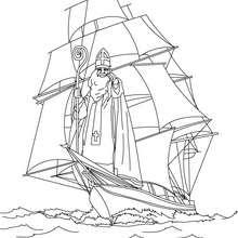 Coloriage de Saint Nicolas en bateau