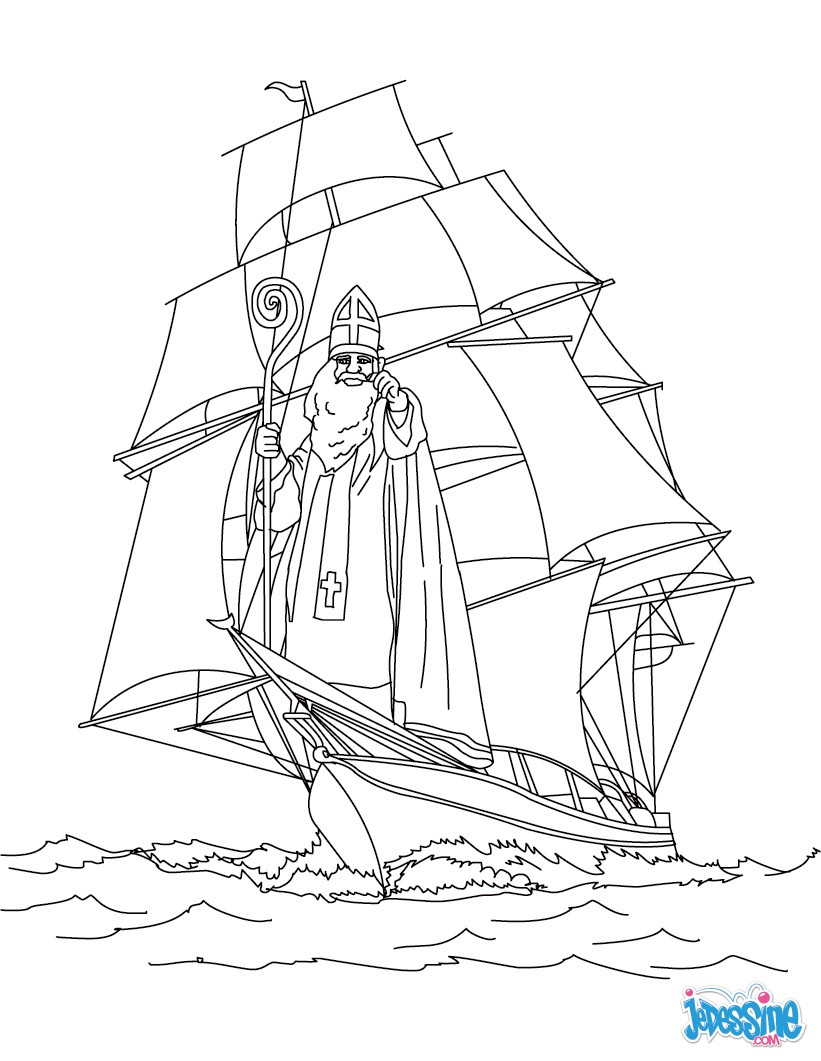 Coloriages coloriage de saint nicolas en bateau - Dessin de saint ...