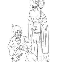 Coloriage gratuit de Saint Nicolas et du méchand Père Fouettard