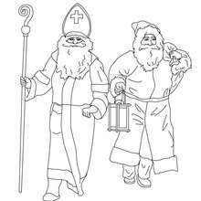 Coloriage de Saint Nicolas et du Pre Nol - Coloriage - Coloriage FETES - Coloriage NOEL - Coloriage LEGENDE DE SAINT NICOLAS pour Nol