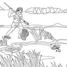 Coloriage d'Homo Erectus qui pëche avec une lance
