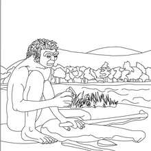 Coloriage : Homo Erectus qui fabrique un outil