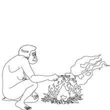 Coloriage : Homo Erectus qui fait cuire de la viande