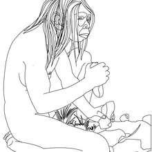 Coloriage : Homo Erectus qui fait du feu en frappant un silex sur de la pyrite