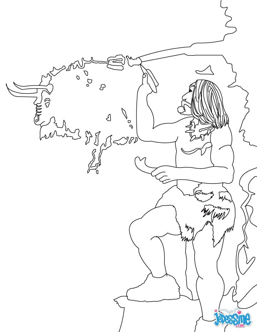 Coloriages homo sapiens qui peint sur les mur d 39 une grotte - Coloriage grotte ...