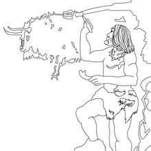 Coloriage : Homo Sapiens qui peint sur les mur d'une grotte