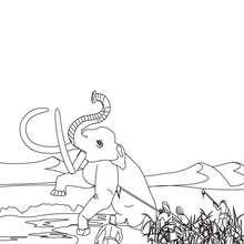 Coloriage : Scène de chasse au mammouth par un groupe d'Homo Sapiens