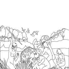 Coloriage : Scène de chasse par un groupe d'Homo Erectus