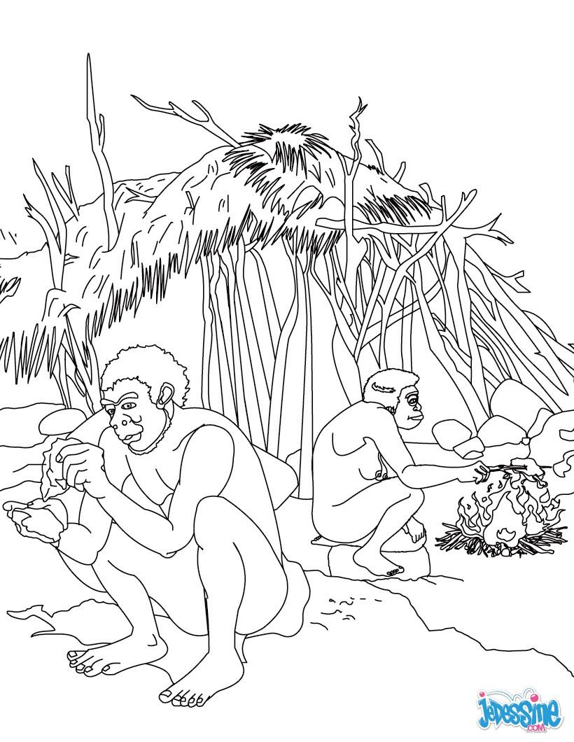 Coloriage A Imprimer Vie Quotidienne.Coloriages Homo Erectus Coloriages Coloriage A Imprimer Gratuit