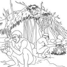 Coloriage : Scène de vie quotidienne d'un groupe d'Homo Erectus