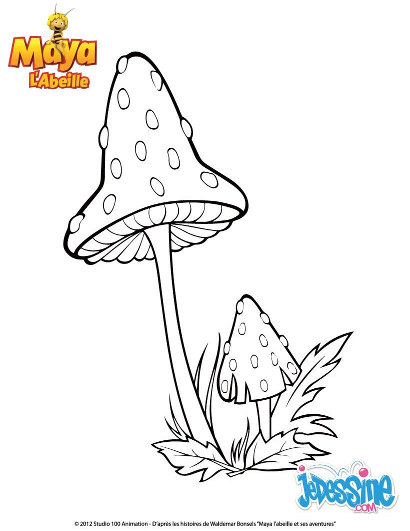 Coloriages coloriage champignon - Coloriage maya l abeille ...