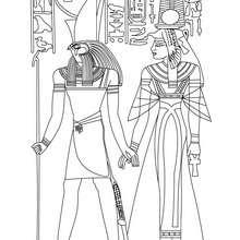 Coloriage : Horus et Nefertari