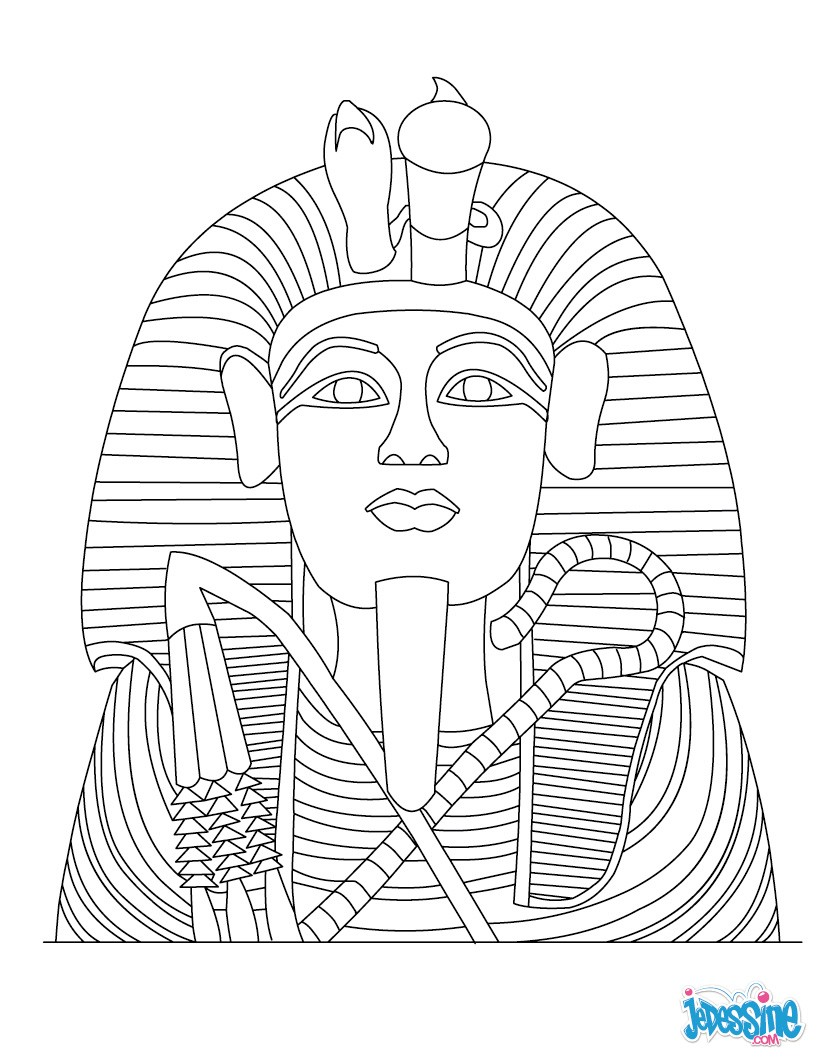 Coloriage : Masque d'or de Toutankhamon