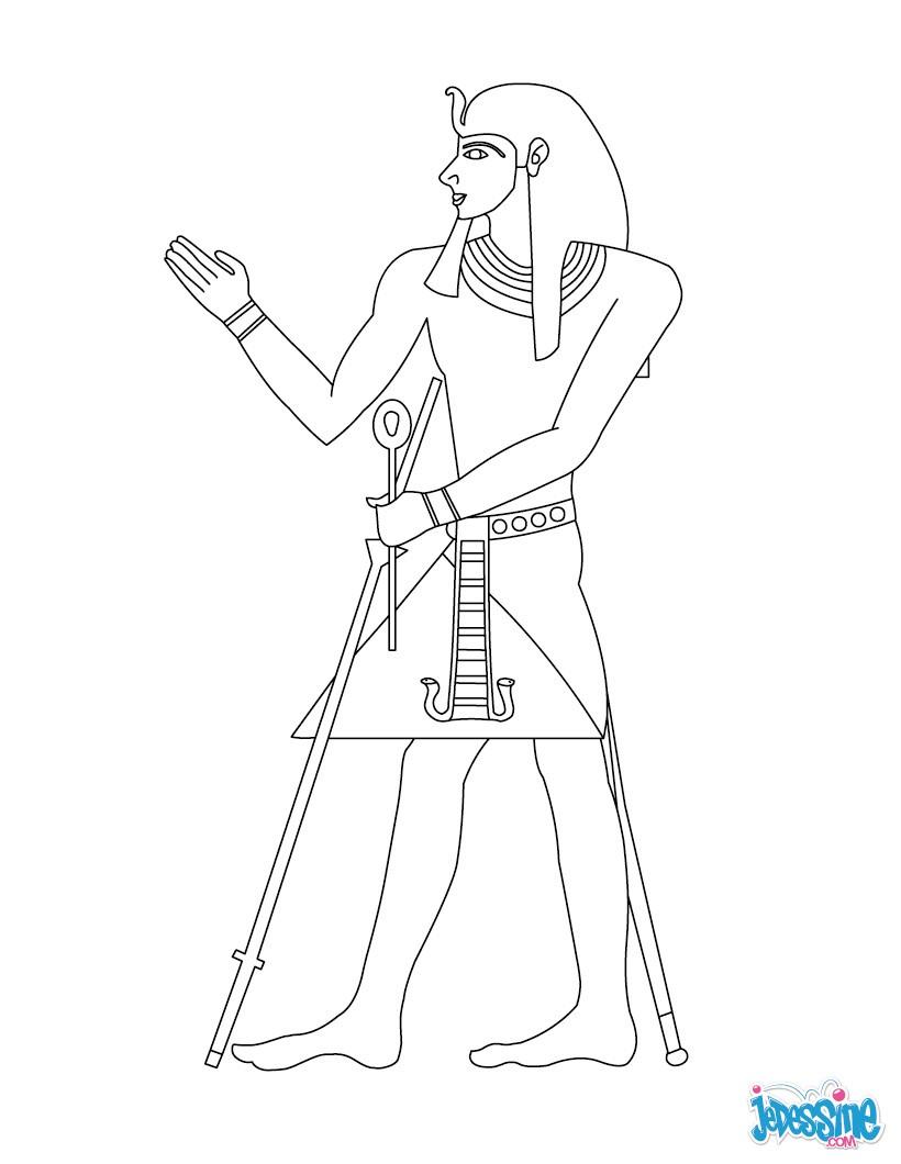 Coloriage : Pharaon avec ses accessoires