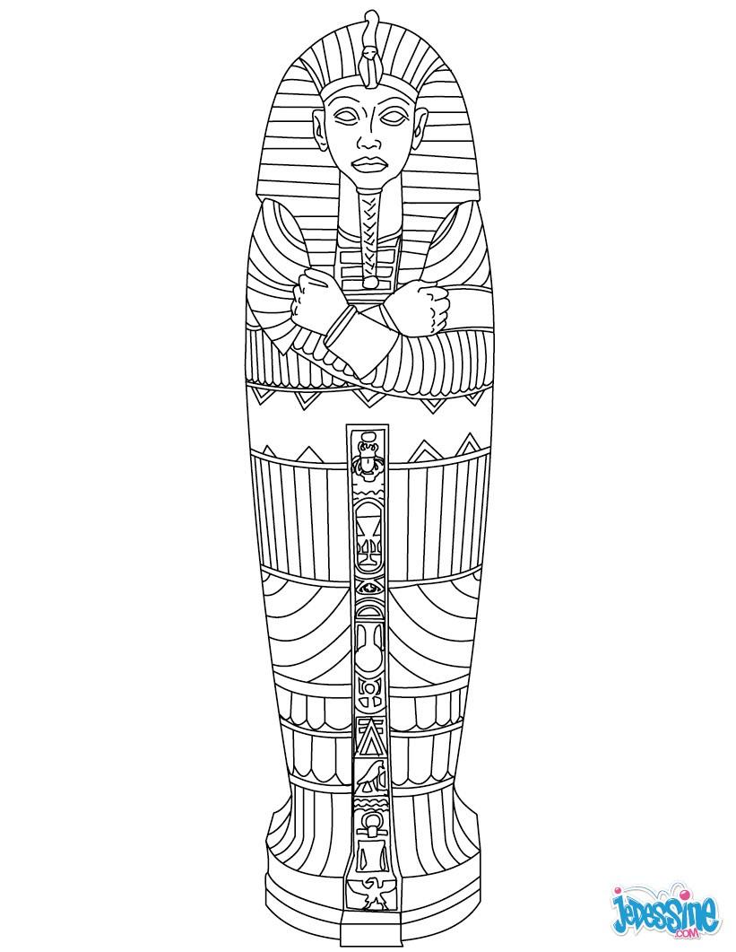 Coloriage : Sarcophage Égyptien