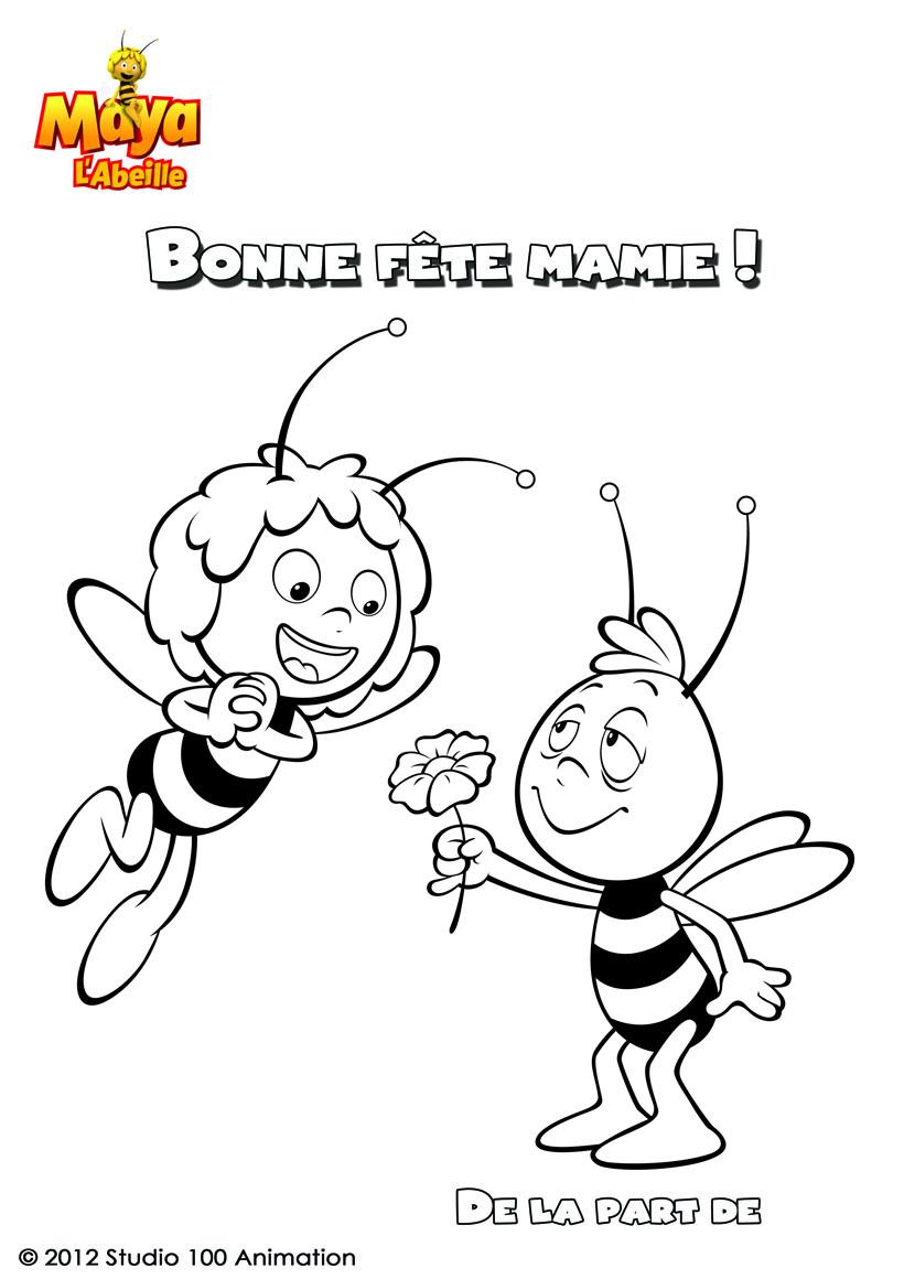 Coloriages coloriage bonne f te mamie maya l 39 abeille fr - Coloriage bonne fete mamie ...