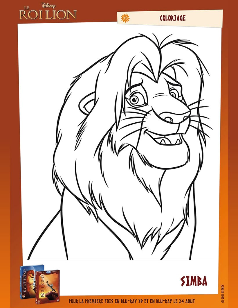Coloriages le roi lion simba - Simba coloriage ...