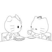 Coloriage : Le goûter de Hello Kitty