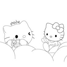 Coloriage : Hello Kitty prend une photo