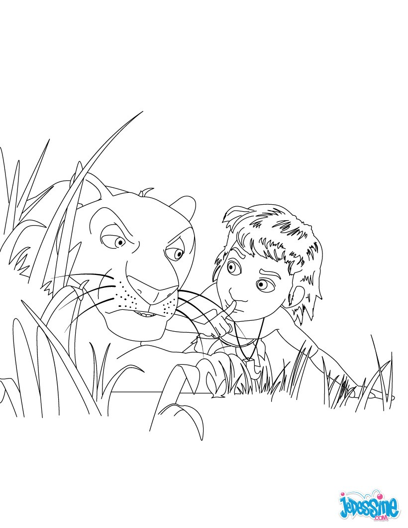 Coloriage Mowgli et Bagheera Colorier en ligne Imprimer · Coloriage gratuit LIVRE DE LA JUNGLE