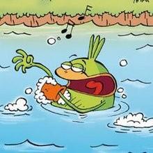 Prendre son bain tranquile - Lecture - BD pour enfant - Le Piou, l'oiseau le plus idiot de tous - Le Piou : IDIOT D'OISEAU