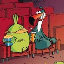 Planche de BD : Le Piou au cinéma
