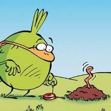Le ver de terre - Lecture - BD pour enfant - Le Piou, l'oiseau le plus idiot de tous - Le Piou : IDIOT D'OISEAU