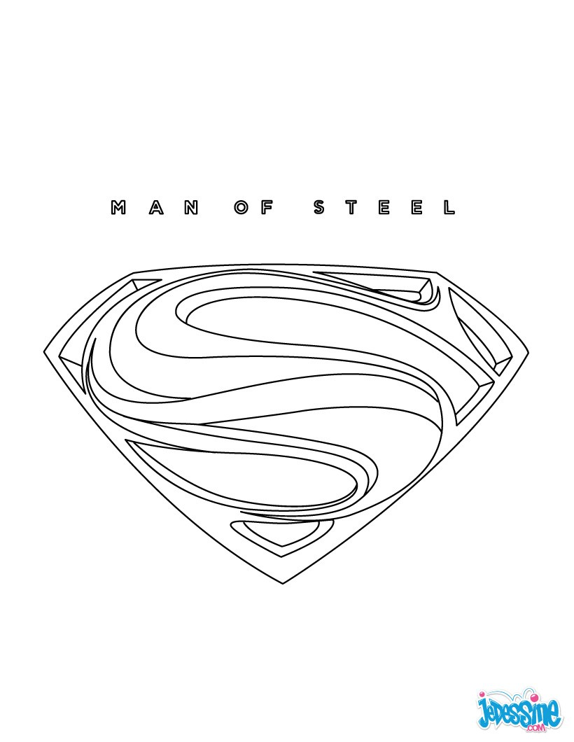 Superman et son blason Coloriage Superman Man of steel