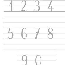 Ecrire les chiffres de 0 à 9 - Dessin - Apprendre à écrire
