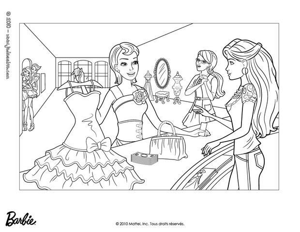 Coloriages barbie et sa nouvelle robe - Coloriages barbie ...