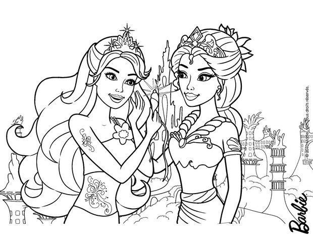 coloriage barbie calissa la reine et merliah