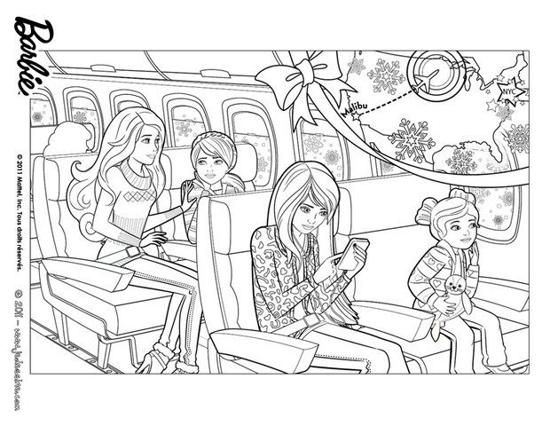 Coloriage Barbie : Coloriage de Barbie dans l'avion