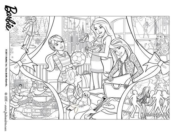 coloriages coloriage de barbie et les cadeaux de no l fr. Black Bedroom Furniture Sets. Home Design Ideas