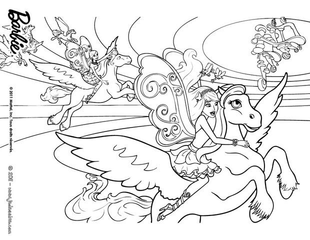 Coloriages coloriage de barbie sur son poney ail fr - Coloriage barbie fee ...
