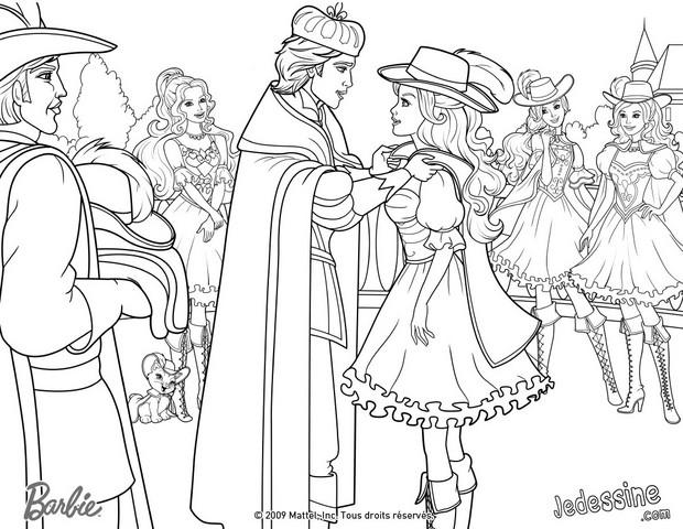 Coloriages coloriage de corinne aramina et ren e devenant - Barbie les 3 mousquetaires ...