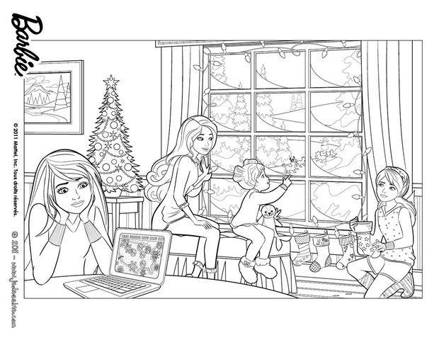 Coloriages Coloriage Gratuit De Barbie à Noël