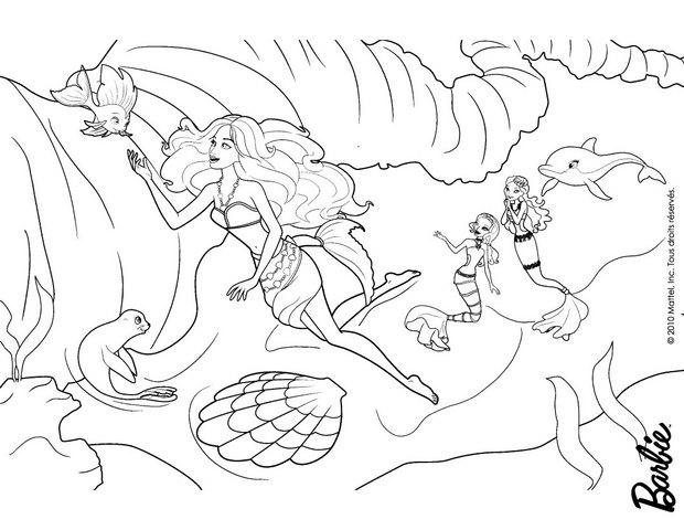 Coloring pages barbie merliah birthday ~ Coloriages merliah nage - fr.hellokids.com