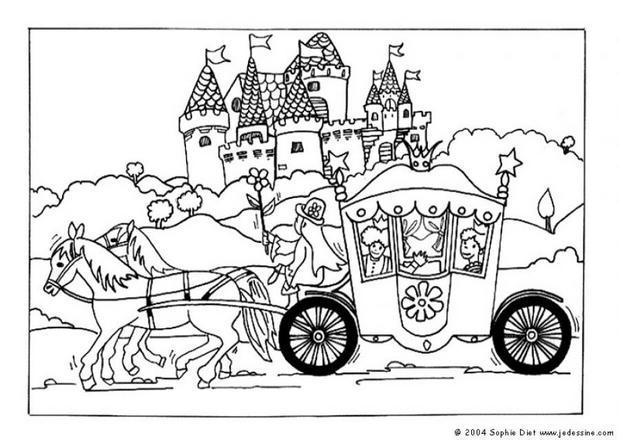 Coloriages carrosse - Chevaux barbie ...